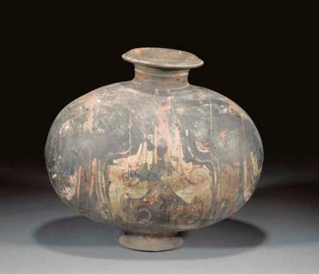 A Han pottery cocoon jar