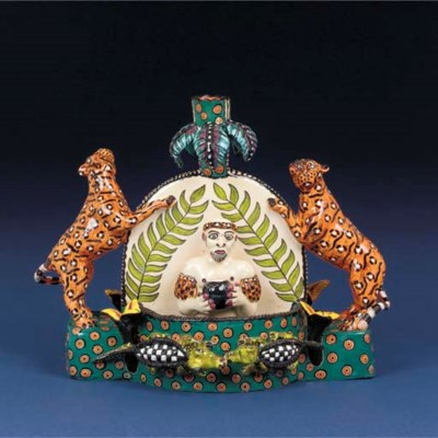 A zulu and leopard candlestick