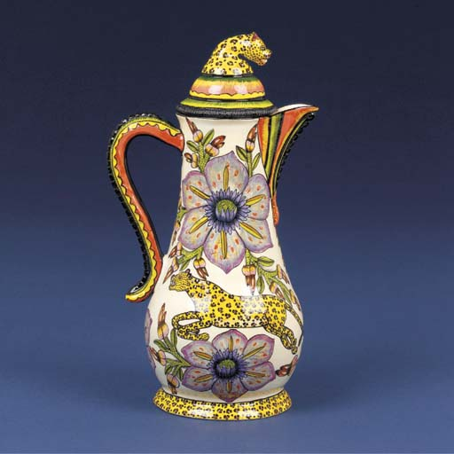 A leopard coffee pot and cover