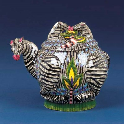 A zebra tureen and cover