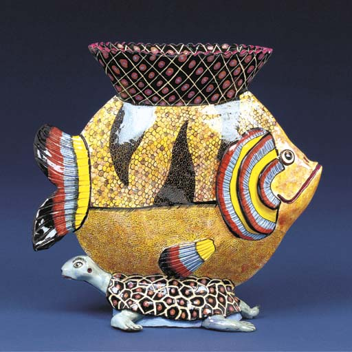 A tortoise and fish vase