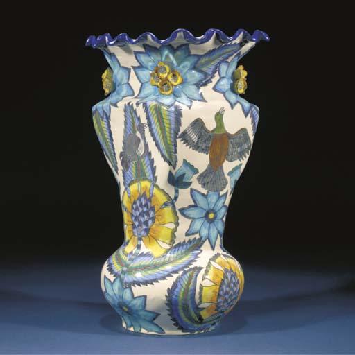 A blue bird vase