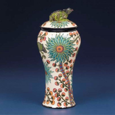 A Chameleon urn and cover