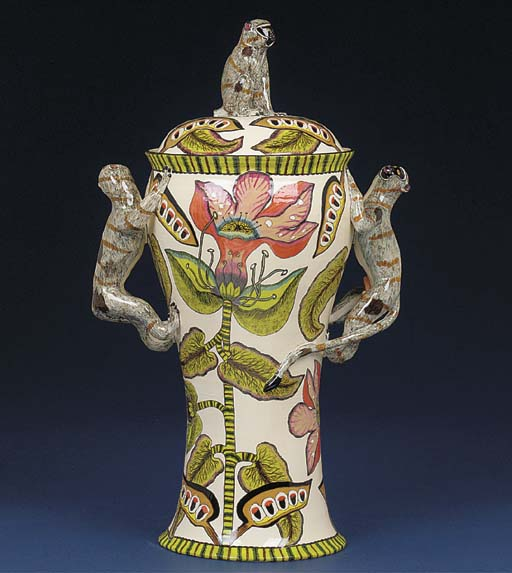 A monkey urn and cover