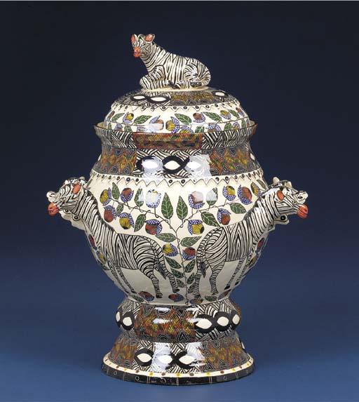A zebra urn and cover