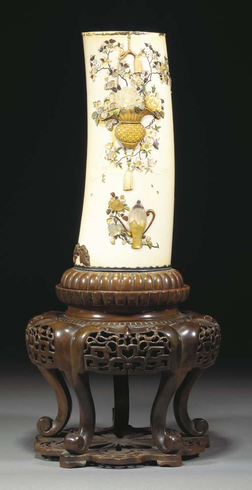 A Japanese shibayama tusk vase