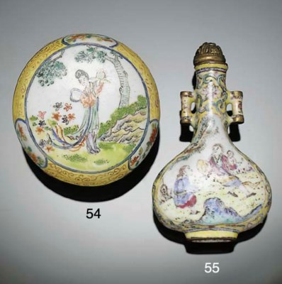 A Canton enamel box and cover,