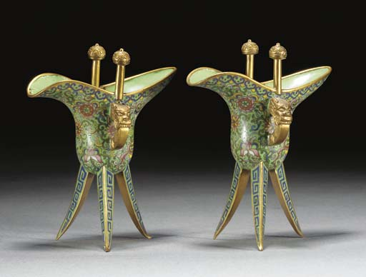 A pair of Chinese gilt-copper