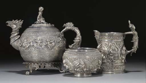 A Burmese silver three piece t