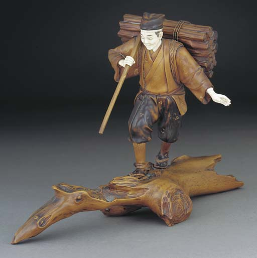 A Japanese boxwood and ivory o