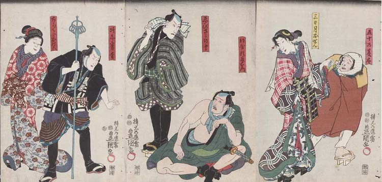 Kunisada, an oban triptych