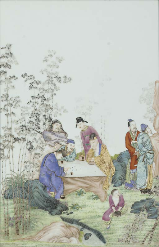 A Chinese framed famille rose