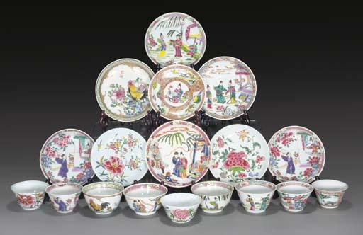 Nine famille rose teablowls an