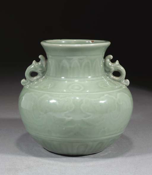 A celadon glazed globular vase
