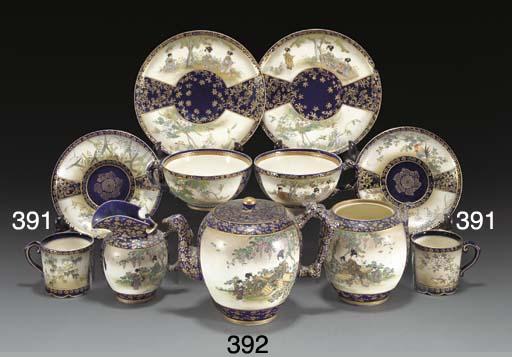 A set of six Japanese satsuma