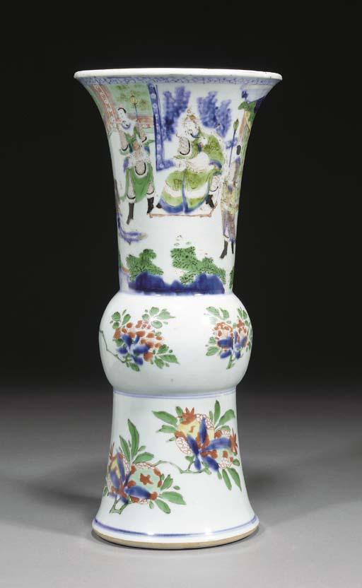 A Chinese wucai gu vase, Trans