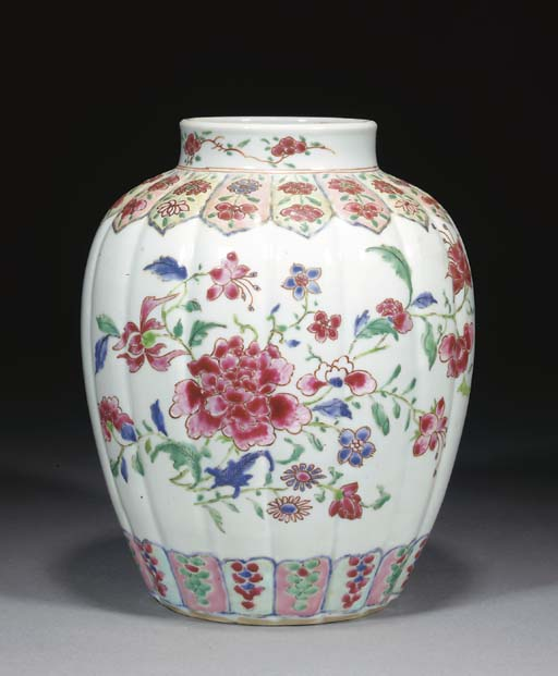 A Chinese famille rose ribbed