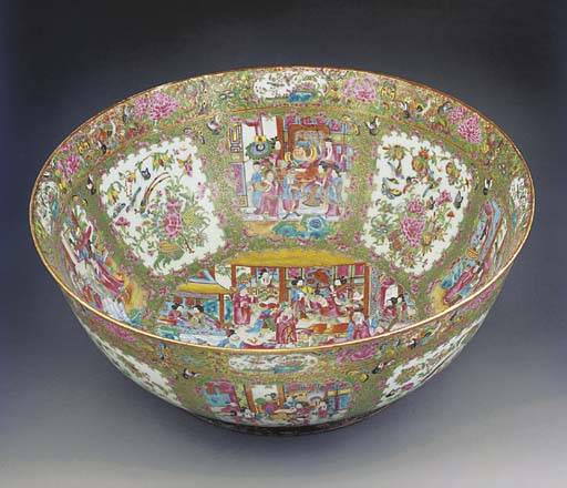 A large Cantonese punch bowl,
