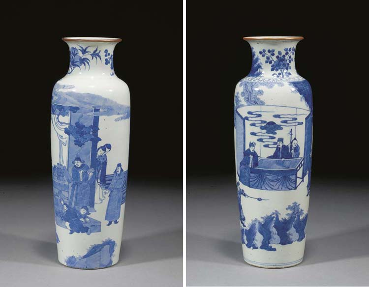 Two Chinese blue and white tap
