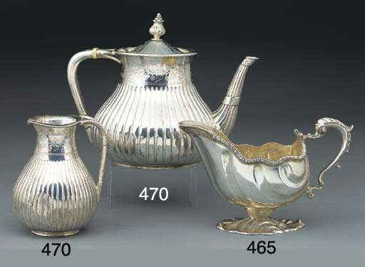 A VICTORIAN SIVER TEAPOT AND C