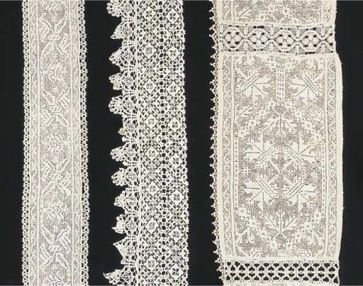 A series of six cutwork linen