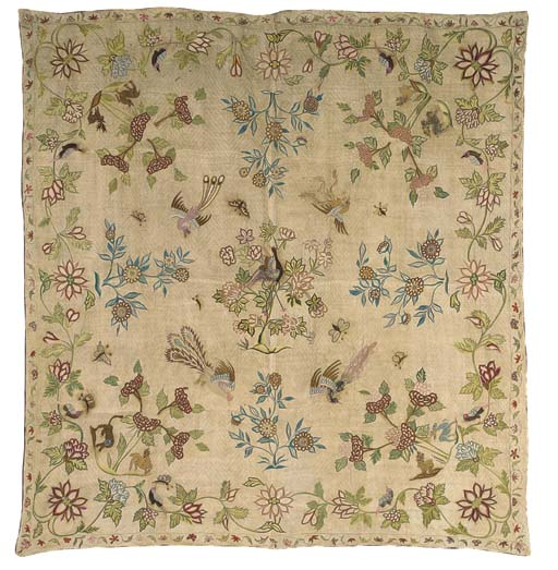 A fine embroidered coverlet, t