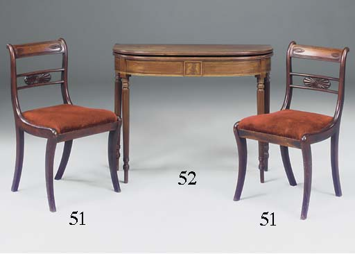 A REGENCY MAHOGANY D-SHAPED CA