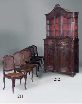 A SET OF SIX STAINED BEECHWOOD