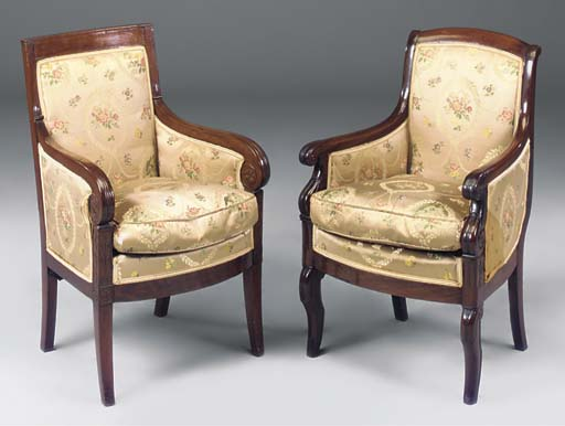 A FRENCH MAHOGANY BERGERE