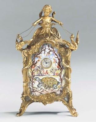 A Swiss gilt-brass and enamel