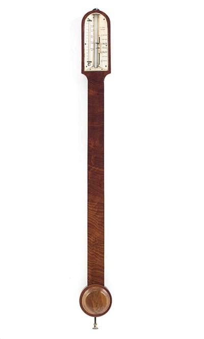 A Victorian walnut stick barom