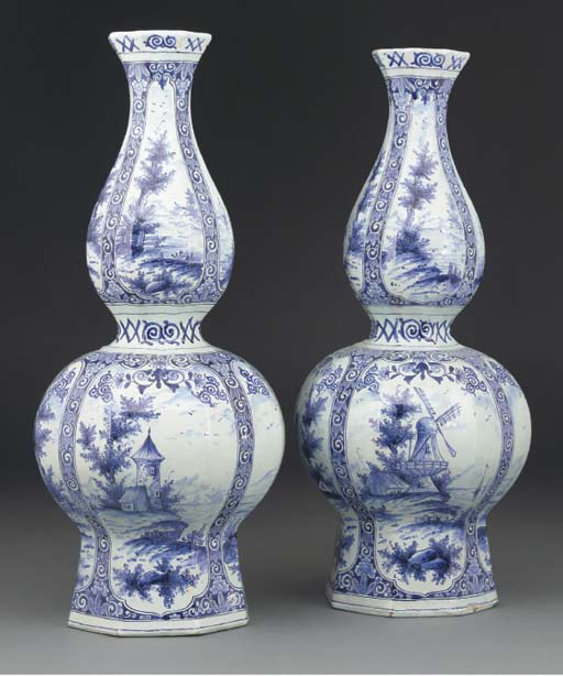 A pair of Delft double-gourd f