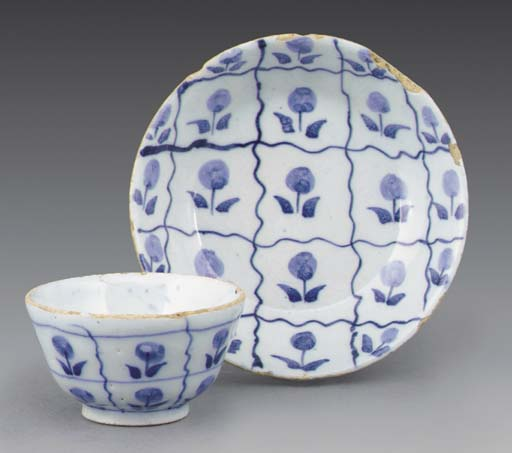 A Delft blue and white miniatu