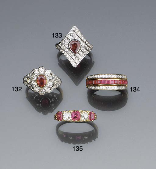 A diamond, sapphire and ruby t