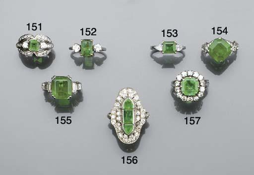 An octagonal emerald and diamo