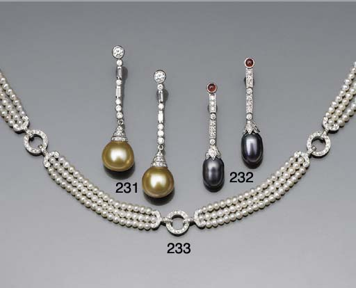 A pair of cultured pearl, diam