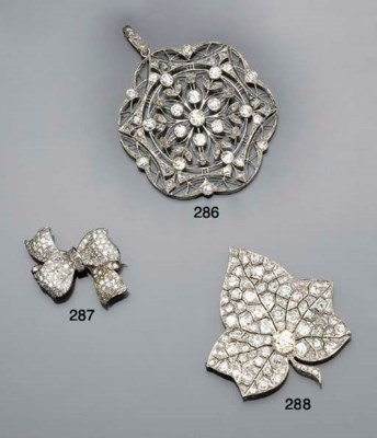 A diamond cluster leaf brooch,