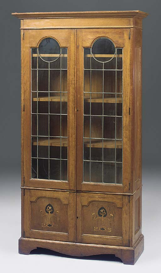 An oak and marquetry glazed bo