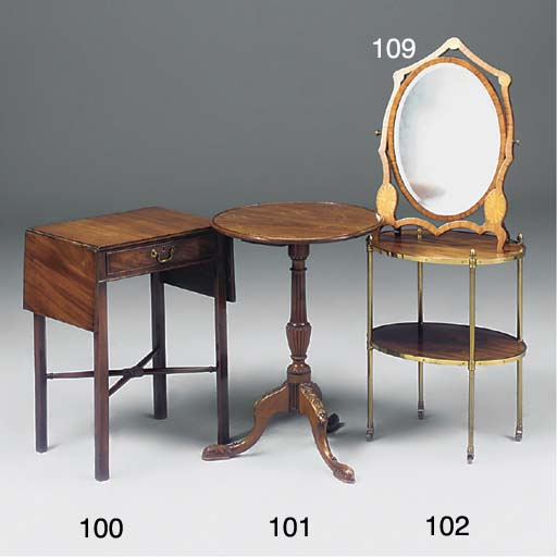A ROSEWOOD AND BRASS TWO-TIER