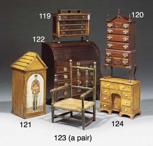 A miniature satinwood veneered