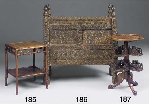 A Chinese hardwood two tier ta