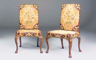 A PAIR OF WALNUT SIDE CHAIRS O