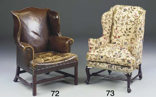 A BEECHWOOD WING ARMCHAIR