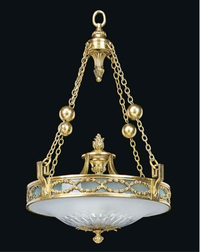A GILT BRASS AND FROSTED GLASS