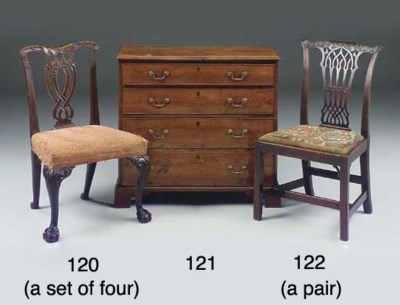 A SET OF FOUR MAHOGANY AND ELM