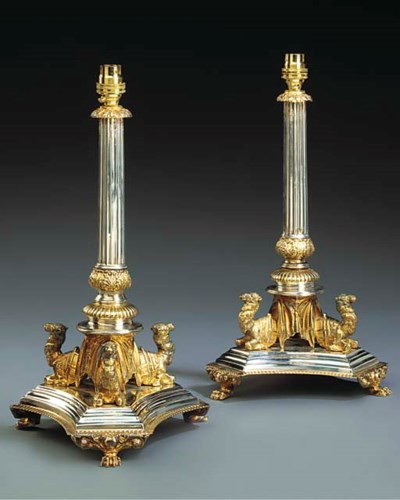 A PAIR OF VICTORIAN SILVER AND