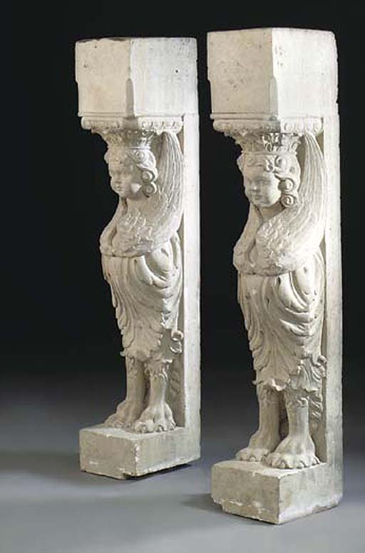 TWO CONTINENTAL CARVED LIMESTO