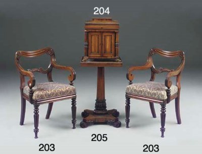 A WILLIAM IV ROSEWOOD WORK OR