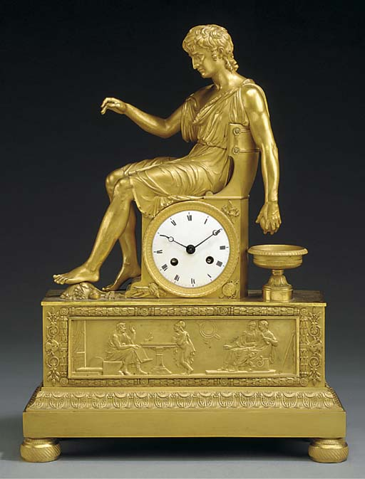 AN EMPIRE ORMOLU MANTEL CLOCK