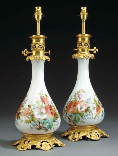 A PAIR OF GILT BRONZE AND OPAL